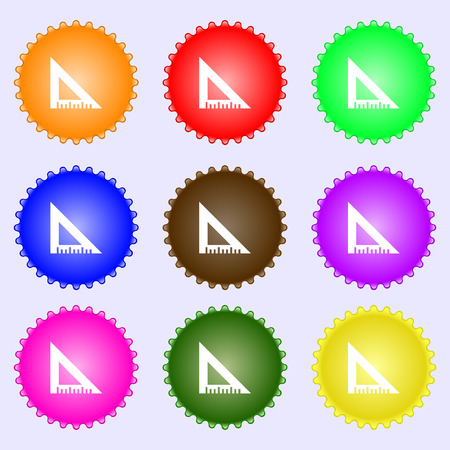 inch: ruler icon sign. A set of nine different colored labels. Vector illustration