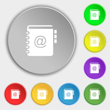 phone book: Notebook, address, phone book icon sign. Symbol on eight flat buttons. Vector illustration Illustration