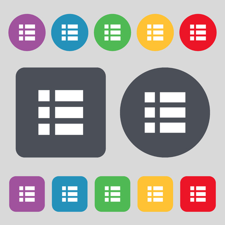 thumbnails: List menu, app icon sign. A set of 12 colored buttons. Flat design. Vector illustration