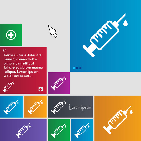 doses: syringe icon sign. buttons. Modern interface website buttons with cursor pointer. Vector illustration Illustration