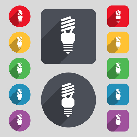 compact fluorescent lightbulb: fluorescent lamp icon sign. A set of 12 colored buttons and a long shadow. Flat design. Vector illustration