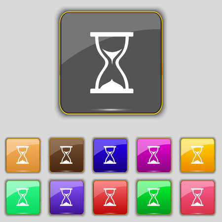 timepieces: hourglass icon sign. Set with eleven colored buttons for your site. Vector illustration