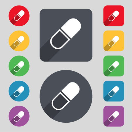 heartache: pill icon sign. A set of 12 colored buttons and a long shadow. Flat design. Vector illustration
