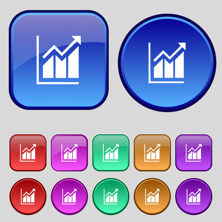 uptrend: Growing bar chart icon sign. A set of twelve vintage buttons for your design. Vector illustration Illustration