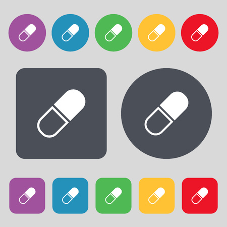 heartache: pill icon sign. A set of 12 colored buttons. Flat design. Vector illustration Illustration
