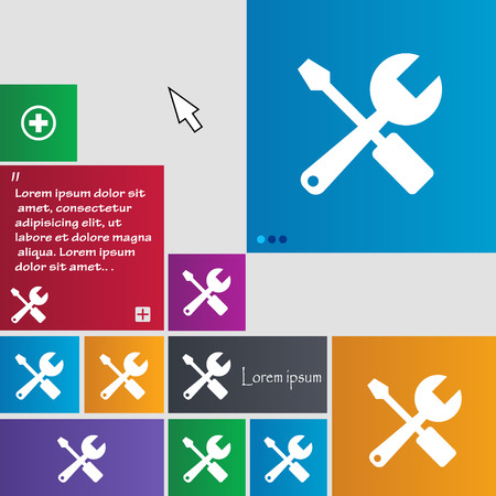 turn screw: wrench and screwdriver icon sign. buttons. Modern interface website buttons with cursor pointer. Vector illustration