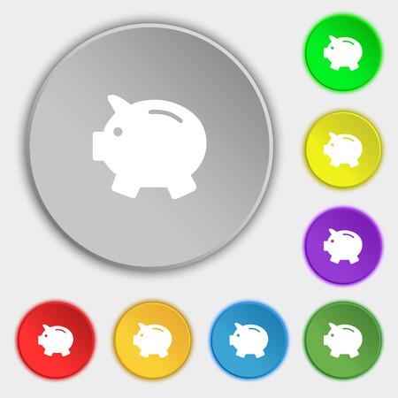 mumps: Piggy bank - saving money icon sign. Symbol on eight flat buttons. Vector illustration Illustration