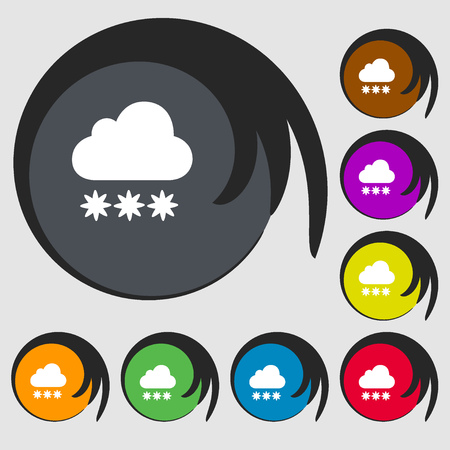 stormy clouds: snow cloud icon. Symbols on eight colored buttons. Vector illustration Illustration