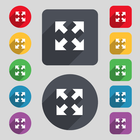 maximize: Full screen icon sign. A set of 12 colored buttons and a long shadow. Flat design. Vector illustration