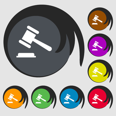 bhutan: judge or auction hammer icon. Symbols on eight colored buttons. Vector illustration
