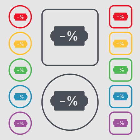 ten empty: SALE tag icon sign. symbol on the Round and square buttons with frame. Vector illustration