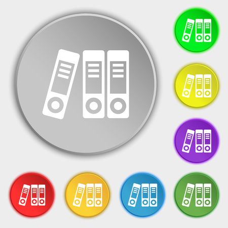 noticeable: binders  icon sign. Symbol on eight flat buttons. Vector illustration Illustration