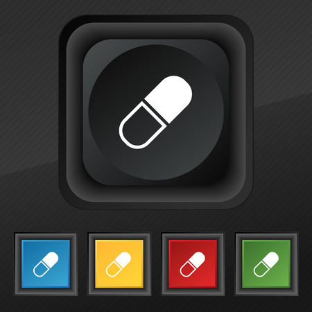 heartache: pill icon symbol. Set of five colorful, stylish buttons on black texture for your design. Vector illustration