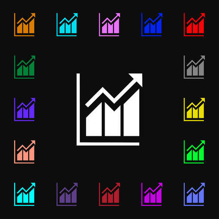 uptrend: Growing bar chart icon sign. Lots of colorful symbols for your design. Vector illustration