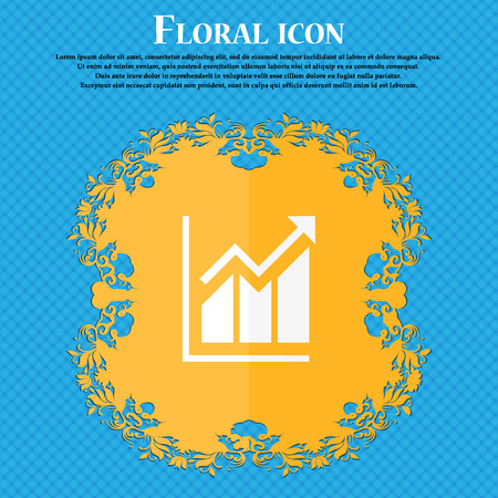 uptrend: Growing bar chart icon. Floral flat design on a blue abstract background with place for your text. Vector illustration