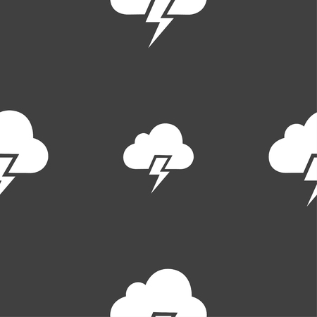 humidity: Heavy thunderstorm icon sign. Seamless pattern on a gray background. Vector illustration Illustration