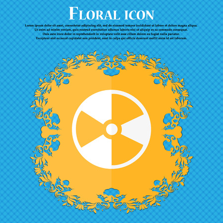 radioactive tank and warning sign: radioactive icon. Floral flat design on a blue abstract background with place for your text. Vector illustration