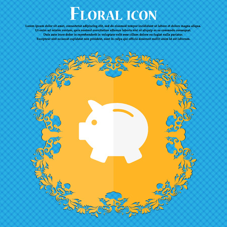 mumps: Piggy bank - saving money icon. Floral flat design on a blue abstract background with place for your text. Vector illustration
