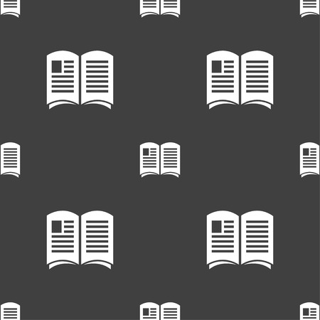news current events: Newspaper icon sign. Seamless pattern on a gray background. Vector illustration