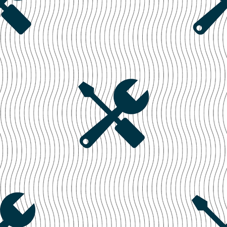 tuning turn screw: wrench and screwdriver icon sign. Seamless pattern with geometric texture. Vector illustration Illustration