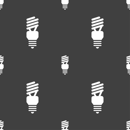 compact fluorescent lightbulb: fluorescent lamp icon sign. Seamless pattern on a gray background. Vector illustration