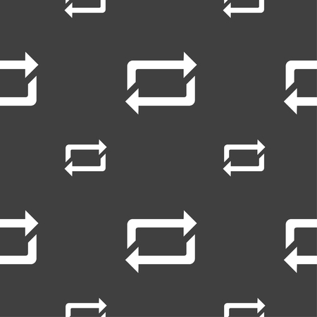 repeat icon sign. Seamless pattern on a gray background. Vector illustration