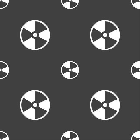 barrel radioactive waste: radioactive icon sign. Seamless pattern on a gray background. Vector illustration