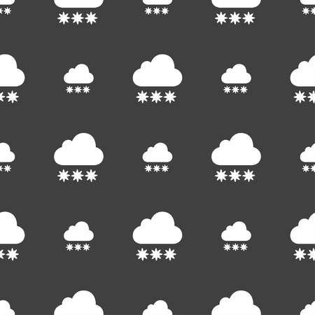 stormy clouds: snow cloud icon sign. Seamless pattern on a gray background. Vector illustration
