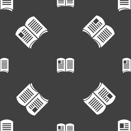 current events: Newspaper icon sign. Seamless pattern on a gray background. Vector illustration