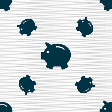 mumps: Piggy bank - saving money icon sign. Seamless pattern with geometric texture. Vector illustration