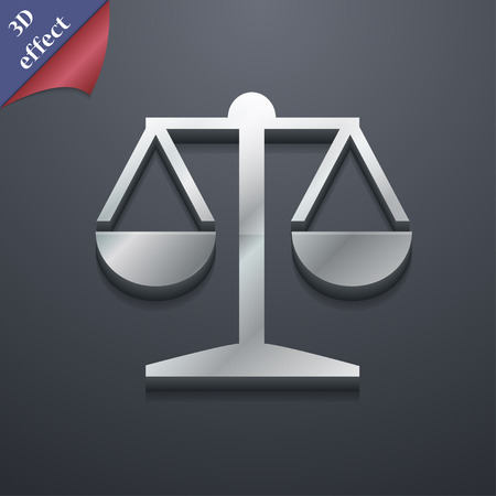 punish: Libra icon symbol. 3D style. Trendy, modern design with space for your text Vector illustration