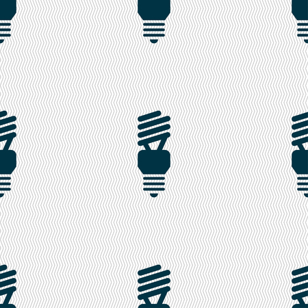 compact fluorescent lightbulb: fluorescent lamp icon sign. Seamless pattern with geometric texture. Vector illustration
