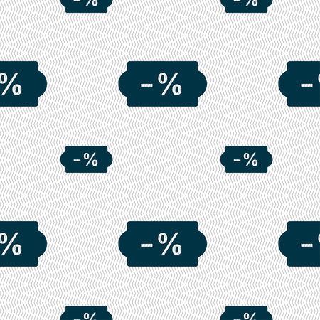 ten empty: SALE tag icon sign. Seamless pattern with geometric texture. Vector illustration Illustration