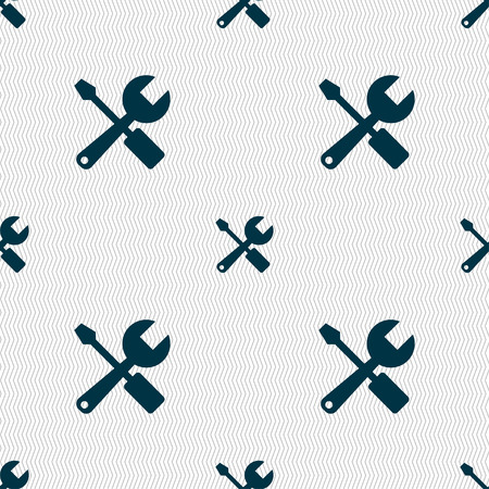 wrench and screwdriver icon sign. Seamless pattern with geometric texture. Vector illustration Illustration