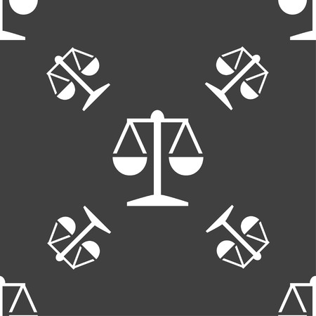 punish: Libra icon sign. Seamless pattern on a gray background. Vector illustration
