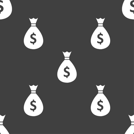 million: dollar money bag icon sign. Seamless pattern on a gray background. Vector illustration