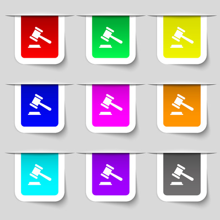 bid: judge or auction hammer icon sign. Set of multicolored modern labels for your design. Vector illustration Illustration