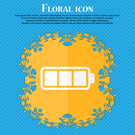 fully: Battery fully charged icon. Floral flat design on a blue abstract background with place for your text. Vector illustration Illustration