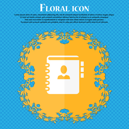 phone book: Notebook, address, phone book icon. Floral flat design on a blue abstract background with place for your text. Vector illustration Illustration