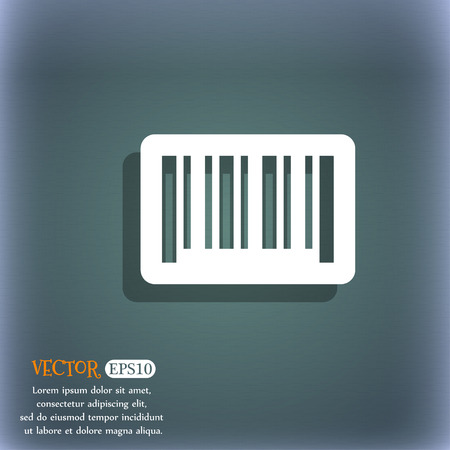 barcode scan: barcode icon. On the blue-green abstract background with shadow and space for your text. Vector illustration