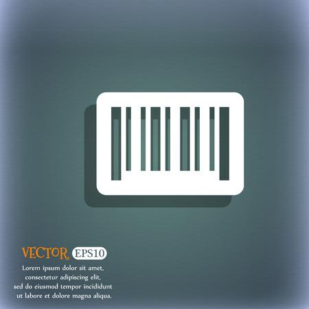 codigo de barras: icono de código de barras. En el fondo abstracto azul-verde con la sombra y el espacio para el texto. ilustración vectorial