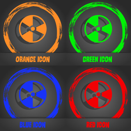 radioactive tank and warning sign: radioactive icon. Fashionable modern style. In the orange, green, blue, red design. Vector illustration Illustration