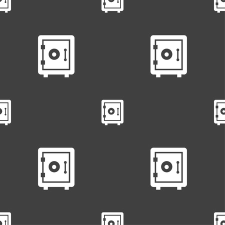 dial lock: safe icon sign. Seamless pattern on a gray background. Vector illustration