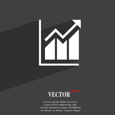 uptrend: Growing bar chart symbol Flat modern web design with long shadow and space for your text. Vector illustration