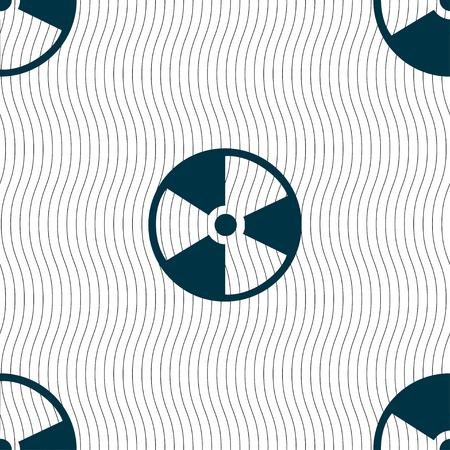 barrel radioactive waste: radioactive icon sign. Seamless pattern with geometric texture. Vector illustration