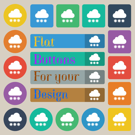 forecasting: snow cloud icon sign. Set of twenty colored flat, round, square and rectangular buttons. Vector illustration