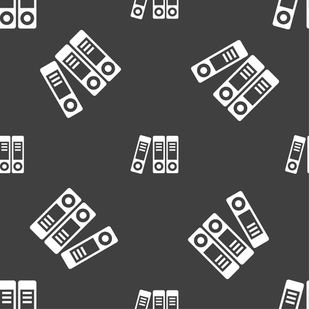 noticeable: binders  icon sign. Seamless pattern on a gray background. Vector illustration