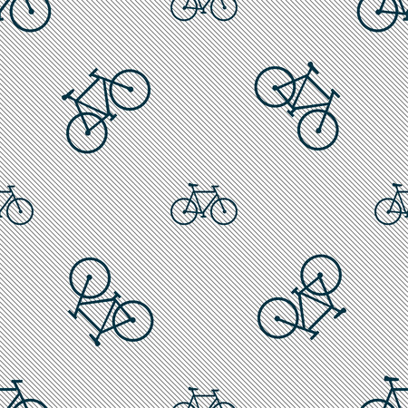 pedaling: bicycle icon sign. Seamless pattern with geometric texture. Vector illustration