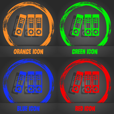 classify: binders  icon. Fashionable modern style. In the orange, green, blue, red design. Vector illustration