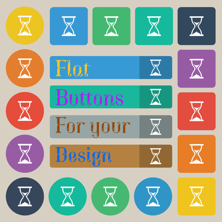 timepieces: hourglass icon sign. Set of twenty colored flat, round, square and rectangular buttons. Vector illustration